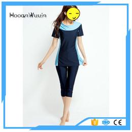 Wholesale Islamic Bikinis - Lady islamic muslim swimsuit custom Most popular OEM quality women short sleeves Conservative swimwear