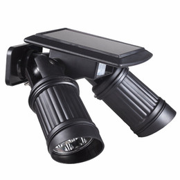 Wholesale led ip44 - 14LEDs LED Solar Lamp PIR Motion Sensor Dual Head Spotlight Adjustable Waterproof Wall Led Night Light for Yard Garden Driveway