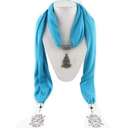 Wholesale Tree Scarf Pendant - Wholesale- New Style Autumn Winter Women Lady's Jewelry Pendant Scarf Christmas Tree Necklace Scarves Wraps Shawl Retro Snow Tassels #OR
