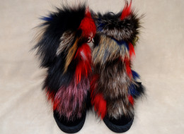 Wholesale Fox Boots - women brand designer winter genuine leather suede lace up multicolor fox fur ankle wedge boots size35-41