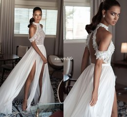 Wholesale Newest Sheer - Bohemia 2017 Newest Sexy Beach Wedding Dresses High Neck Off Shoulder Delicate Beaded Illusion Chiffon Split Side Backless Wedding Gowns