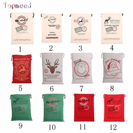 Wholesale Reindeer Figure - 2017 Christmas Large Canvas Monogrammable Santa Claus Drawstring Bag With Reindeers, Monogramable Christmas Gifts Sack Bags fast shipping