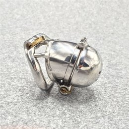 """Wholesale Small Metal Chastity Cages - New Double Lock Design Stainless Steel Small Male Chastity Device For Men Metal Penis Lock Chastity Cage For BDSM 2.5"""" Cock Cage"""
