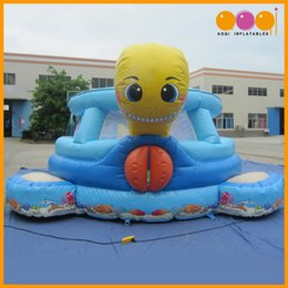 Wholesale Cheap Small Inflatables - AOQI super attractive lovely small cartoon turtle combo inflatable indoor inflatable bouncer with slide cheap sale