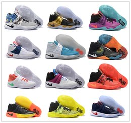 Wholesale Tennis Ball Rubber - New 2017 Kyrie Irving Shoes Mens Basketball Shoes Kyrie 2 II Bright Crimson Tie Dye BHM Basket Ball Olympic Men Shoes Sneakers For Cheap