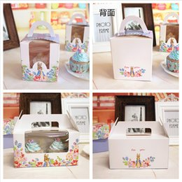 Wholesale Single Cupcakes Boxes - 100 x Lovely kangaroo 1 2 Holes Cupcake box With Handle single cupcake boxes pudding case with lining