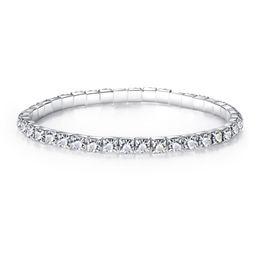 Wholesale Female Friend - Fashion Female Shining Rhinestone Elastic Bracelets For Woman Silver Plated Charm Bracelets Best Friend Gift Wristband Jewelry