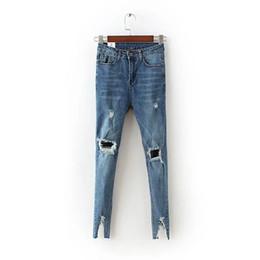 Wholesale Cotton Linen Trousers Women - Wholesale- Broken leg opening Skinny denim vintage hole ripped jeans Fashion high waist pencil pants dark blue gray jeans Trousers split