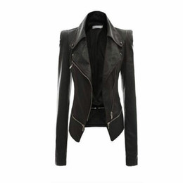 Wholesale Leather Motorcycle - Wholesale- Women Leather Jacket Rivet Zipper Motorcycle Jacket Turn Down Collar chaquetas mujer Argyle pattern Leather Jacket S-3XL