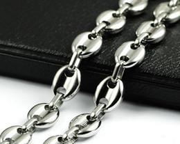 Café polonês on-line-Presentes de Feriado dos homens de moda de Aço Inoxidável Puro Colar feijão de café design Chain Link Alto Polido tom de ouro para jóias 10mm 18 -32 ''