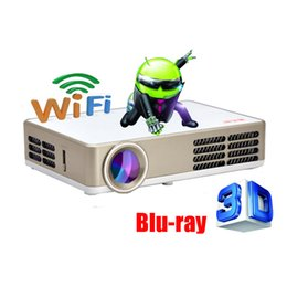 Wholesale Usb Blue Ray - Wholesale-Android Wifi 3000Lumens HDMI VGA USB TF Blue Ray 3D Portable LCD Video LED Mini DLP Projector Proyector fUll hD Beamer Projetor