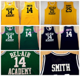 Wholesale Bank Black - 14 WILL SMITH Jerseys The Fresh Prince 25 Carlton Banks Jersey OF BEL-AIR Basketball BEL AIR Academy Yellow Shirt Black Green (TV Sitcom)