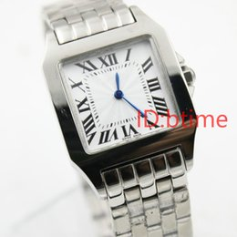 Wholesale Top Women Skeleton Watches - 2017 New ladys Gift Santox Square womens Watch white face Stainless steel luxury quartz Skeleton Cheap Sale top quality women watch 30MM