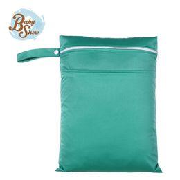 Wholesale Solid Wet Bag - Wholesale-Babyshow 2016 New Arrival Diaper Wet Bag Diaper Baby Reusable Solid Double Layer PUL Waterproof Double Pocket 30*40cm Wet Bag