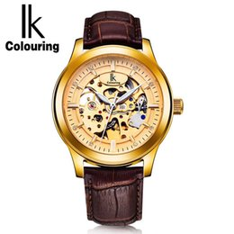 Wholesale Colour Strap Watches - IK Colouring Vintage Gold Hollow Skeleton Watch Mens Steel Case Genuine Leather Strap Automatic Mechanical Watches Waterproof Style
