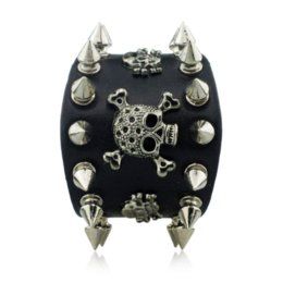 Wholesale Skulls Spike Rivets - Unique Rock Spikes Rivet Gothic Skeleton Skull Punk Biker Wide Cuff Leather Bracelet S059 wholesale