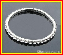 Wholesale Cheap Party Accessories - 2017 cheap 15005 In Stock Silver Rhinestone 1 Row Stretch Bangle Junior Prom Homecoming Wedding Party Jewelry Bracelet Bridal Accessories