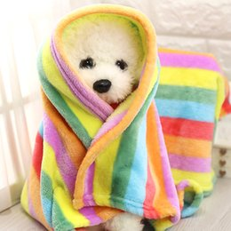 Wholesale Pet Flannels - Wholesale- S M Rainbow Flannel Bed Blanket Warm Towels for Puppy Dog Cat Mat Dog Bed Sofa Coverlet Pet Supplies Bath Accessories TAILUP
