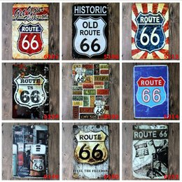 Wholesale Historic Homes - Fashion 20*30cm US Route Old Historic 66 Retro Vintage Classic Tin Bar Pub Home Wall Decor Retro Tin Poster Bar Metal Paintings