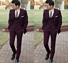 Wholesale Slim Suits For Cheap - Burgundy Slim Fit Wedding Tuxedos Suits For Men Cheap Jacket Vest And Pants Groom Suit Three Pieces Prom Suits
