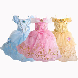 Wholesale Cinderella Snow New Cartoon - New Christmas Cinderella Girls Dress Snow White Princess Dresses For Girls Rapunzel Aurora Children Cosplay Kids Clothing
