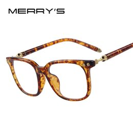 Wholesale Eyeglasses Temples - MERRY'S Fashion Women Clear Lens Eyewear Unisex Retro Clear Glasses Big Frame Metal Temples Eyeglasses q0413