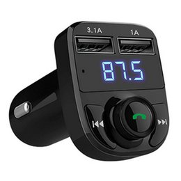 Wholesale car radio modulator - 1PC Handsfree Wireless Bluetooth FM Transmitter Radio Car MP4 Modulator Music Player Charger USB TF LED Dual USB charger