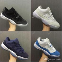 Wholesale Black Moon Boots - 2017 Air Retro 11 XI Low Blue Moon University Blue GS Frost White Men Women Basketball Shoes Mens Sports Sneakers 11s Basket Shoe