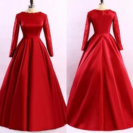 Wholesale Real Coral Necklaces - 2017 Vintage Guest Dresses Long Sleeves Evening Dresses Jewel Neck Satin Back Zipper A-Line Lace Appliques Prom Dresses Free Necklace