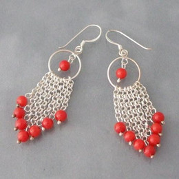 Wholesale Drop Coral Earring - New Free Shipping Multi Strand Chain Red Coral Drop Earrings 925 Sterling Silver Hook 6mm Round Shaper Jewelry Wholesale Price