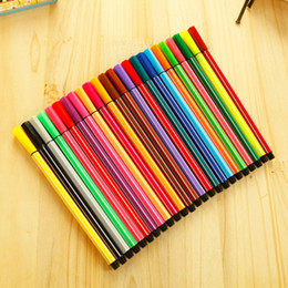 Wholesale Kids Paint Box - 12 18 24 colors Water Color Pen Brush Marker Highlighter For Kids Stationery Copic Markers Art Supplies School Washable