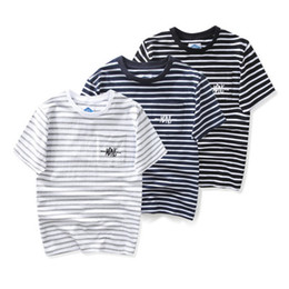 Wholesale Tees Half Sleeves - 2018 New Japanese Style Tide Tee Shirt Men Short Sleeve Stripes Half Sleeve Cotton T Shirts dongguan_wholesale in stock