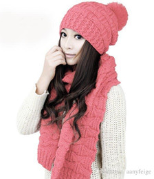 Wholesale Wool Scarves For Girls - 2pcs set winter hat and scarfs set for women warm suit girls wool hats thicken multicolor ladies scarf,pink gray white black beige