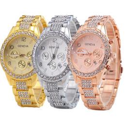 Wholesale Geneva Metal Diamond - 2017 unisex men women geneva metal alloy watch with calendar wholesale fashion luxury ladies dress steel diamond quartz Analog watces