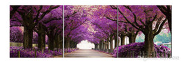 Wholesale purple picture frames - YIJIAHE Landscape Print Canvas Painting Purple Tree 3 Piece Canvas Art Wall Pictures for Living Room Large Wall Art B1 Framed