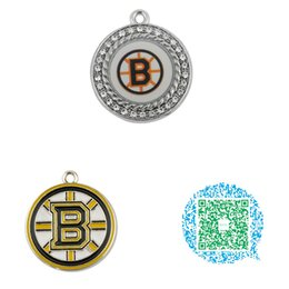 Canada Gros-10pcs Hockey ronde émail cristal Boston Bruins charmes pendentifs cheap hockey pendants Offre