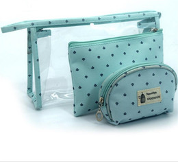 Wholesale Cavas Bags - 2017 New style Travel Convenient Bags fashion cosmetic bags with wholesale price waterproof PVC and Cavas makeup bags free shipping