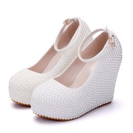zapatos de boda de cuña de alta marfil Rebajas Mujer Plataforma Cuñas Blanco Marfil Perla Cristal Rhinestone Boda Zapatos de novia Tacones altos Bombas Cuñas