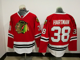 Wholesale Cheap Ice Hockey Tops - 2017 New Style 38 Ryan Hartman Jersey Men Cheap Chicago Blackhawks Ice Hockey Jerseys Hartman Sports Team Color Red All Stitched Top Quality