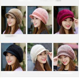 Mulheres Boina Outono e Inverno Moda Cor Sólida Boina Chapéu Chapéu de Inverno Quente Chapéu Quente Frete Grátis de