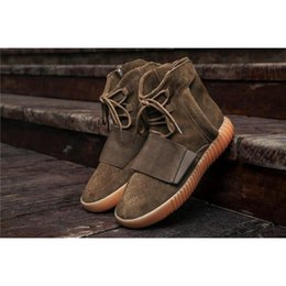 Wholesale Cheap Cowboy Shoes - Boost 750 CLAIR MARRON Kanye West Classic Casual Shoes 2017 Cheap Online Wholesale LT.BROW BY2456 Outdoosr Sneaker Footwaer 750 Boosts
