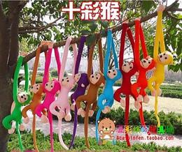 Wholesale Dolls Plush Monkey Toy - Wholesale-Baby Kids Soft Plush Toys Cute Colorful Long Arm Monkey Stuffed Animal Doll Gift