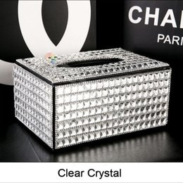 Wholesale Crystal Tissue Box - Wholesale- 100% Handmade High Quality Crystal Rhinestone Diamond Paper Towel Holder Napkins Case Tissue Box Best Gifts 3 Colors Selection