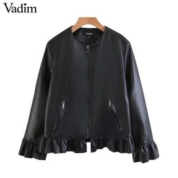 Wholesale Ladies Pu Jackets - Vadim sweet ruffled faux PU leather jacket black zipper pockets stylish coat ladies casual outerwear tops casaco CT1547