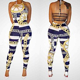 Wholesale Sexy Backless Outfit - Sexy Backless Bodycon Bandage Jumpsuit Women Halter Gold Chains Print Pants Outfit Hottest Club Party Bodycon Jumpsuits MC022 Free Shipping
