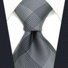 Wholesale Men Plaid Neckties - S1 Checked Black Dark Gray Plaids Men's Ties Neckties Extra Long Size Fashion 100% Silk Jacquard Woven