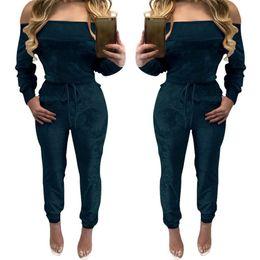 Wholesale Ladies Candy Color Pants - Wholesale- Sexy Off Shoulder Velvet Jumpsuit Women Slim Overalls Casual Drawstring Hollow Long Pants Ladies Candy Color Jumpsuits Rompers