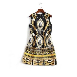 Wholesale Notre Dame Crew Neck - The new Europe and the United States women's 2017 spring The baroque Notre Dame sleeveless a-line dress