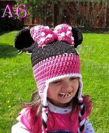Wholesale Crochet Christmas Minnie - Mickey Minnie Crocheted Knitted Hat Baby Boy Girl Winter Christmas Cap Newborn Infant Toddler Children Animal Beanie 100% Cotton Photo Props