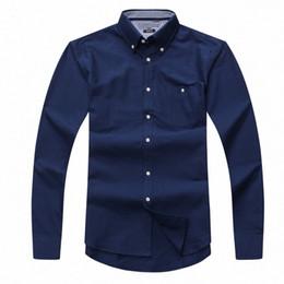 Atacado 2017 novo outono e inverno dos homens de manga longa 100% camisa de algodão puro homens casuais moda Oxford camisa social marca clothing de